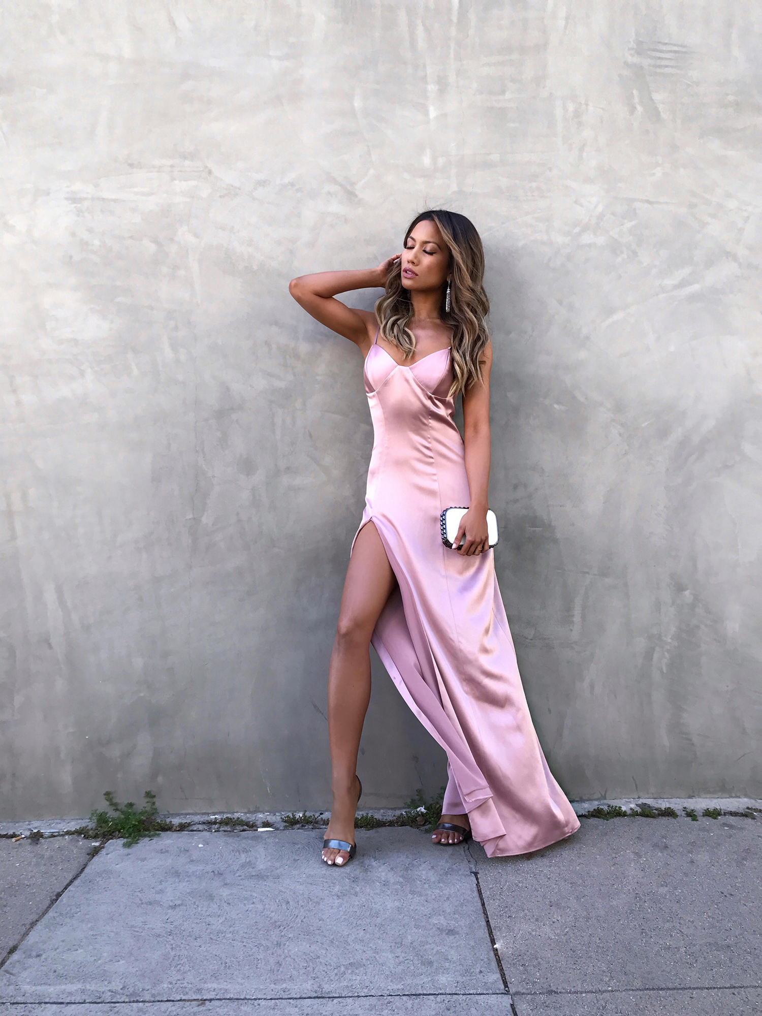 Jessi Malay wearing Michelle Mason Slip Gown