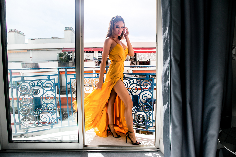 Jessi Malay wearing Michelle Mason Gown