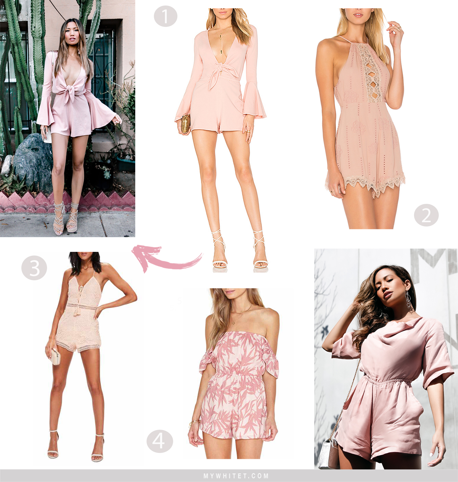 Jessi Malay blush rompers