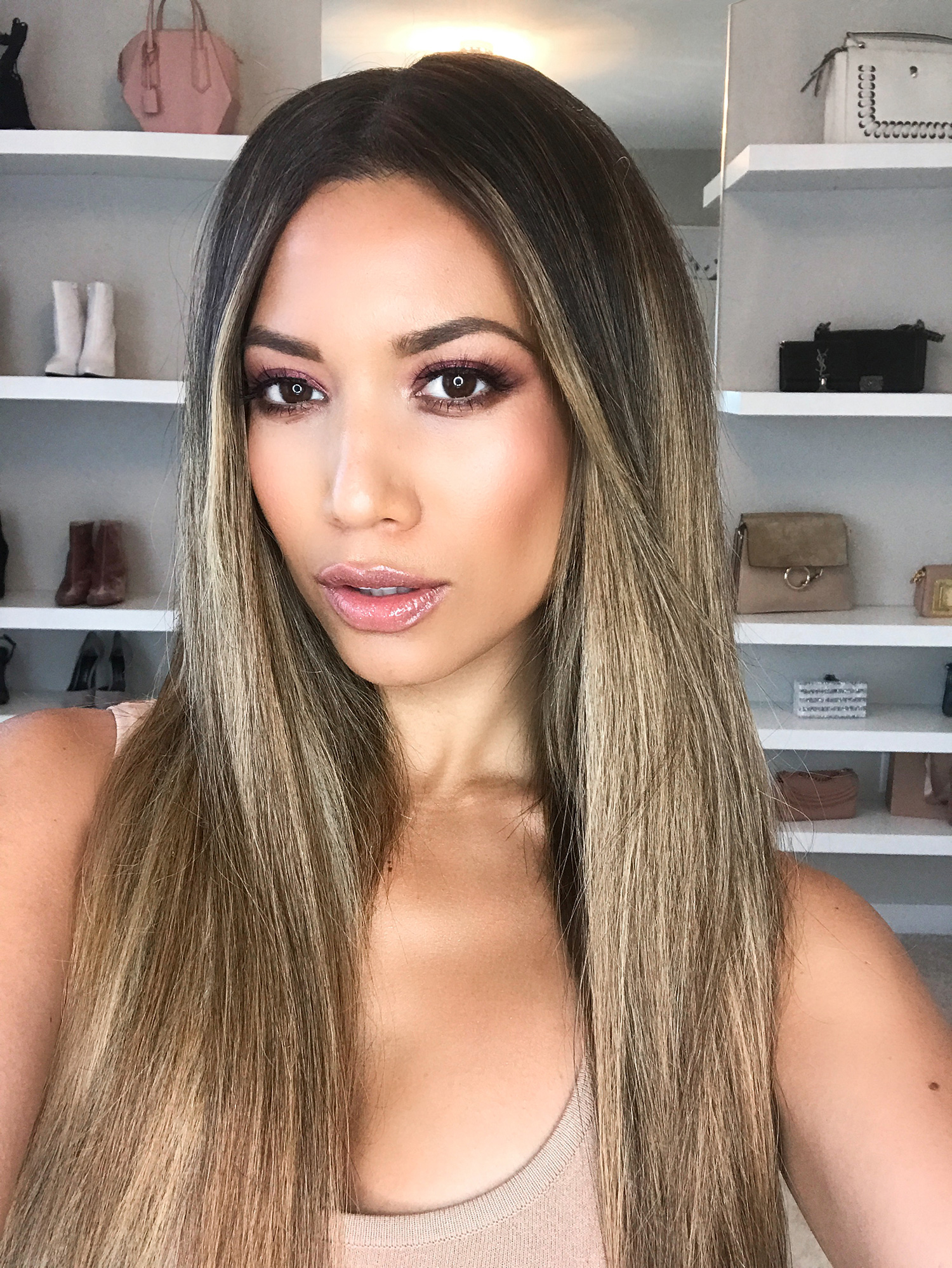 JLo Makeup Tutorial with straight flat hair