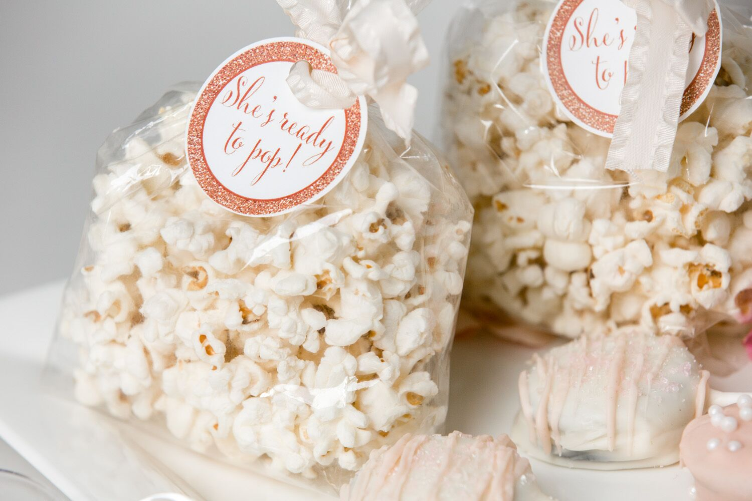 Baby Shower Favors Using Popcorn ~ Ready to pop baby shower favor kits tag colors popcorn