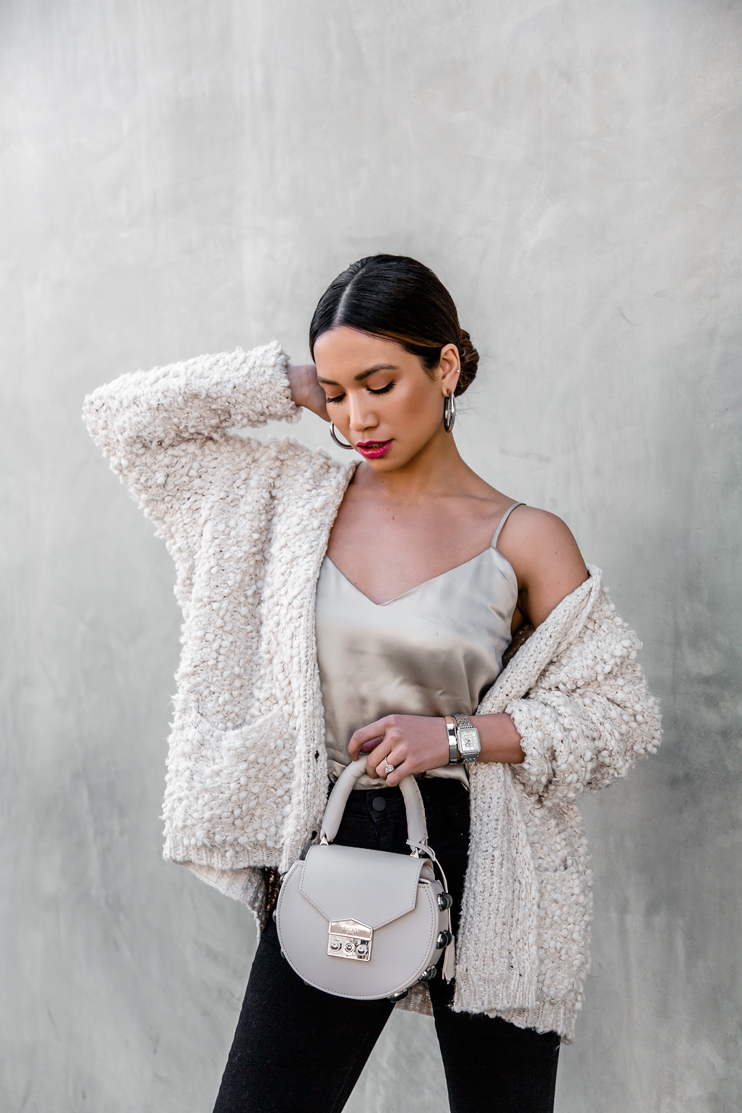 Jessi Malay wearing Line and Dot Cardigan cozy knits winter trends