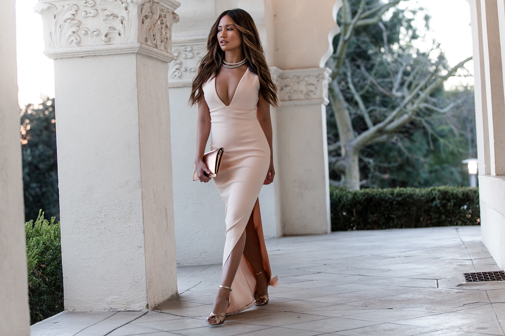 Jessi Malay wearing Marciano JLO collection maxi dress sexy date night