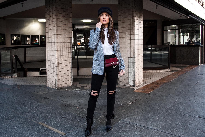 Jessi Malay wearing Majorelle Plaid Blazer Streetstyle