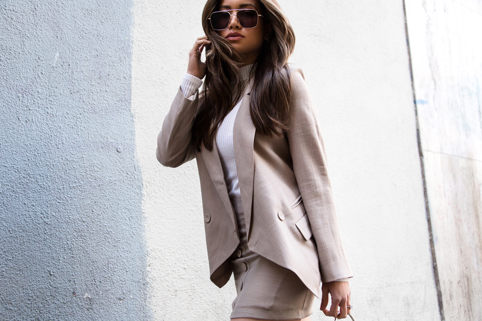 Jessi Malay wearing Misha Vaidya Skirt and Blazer Set