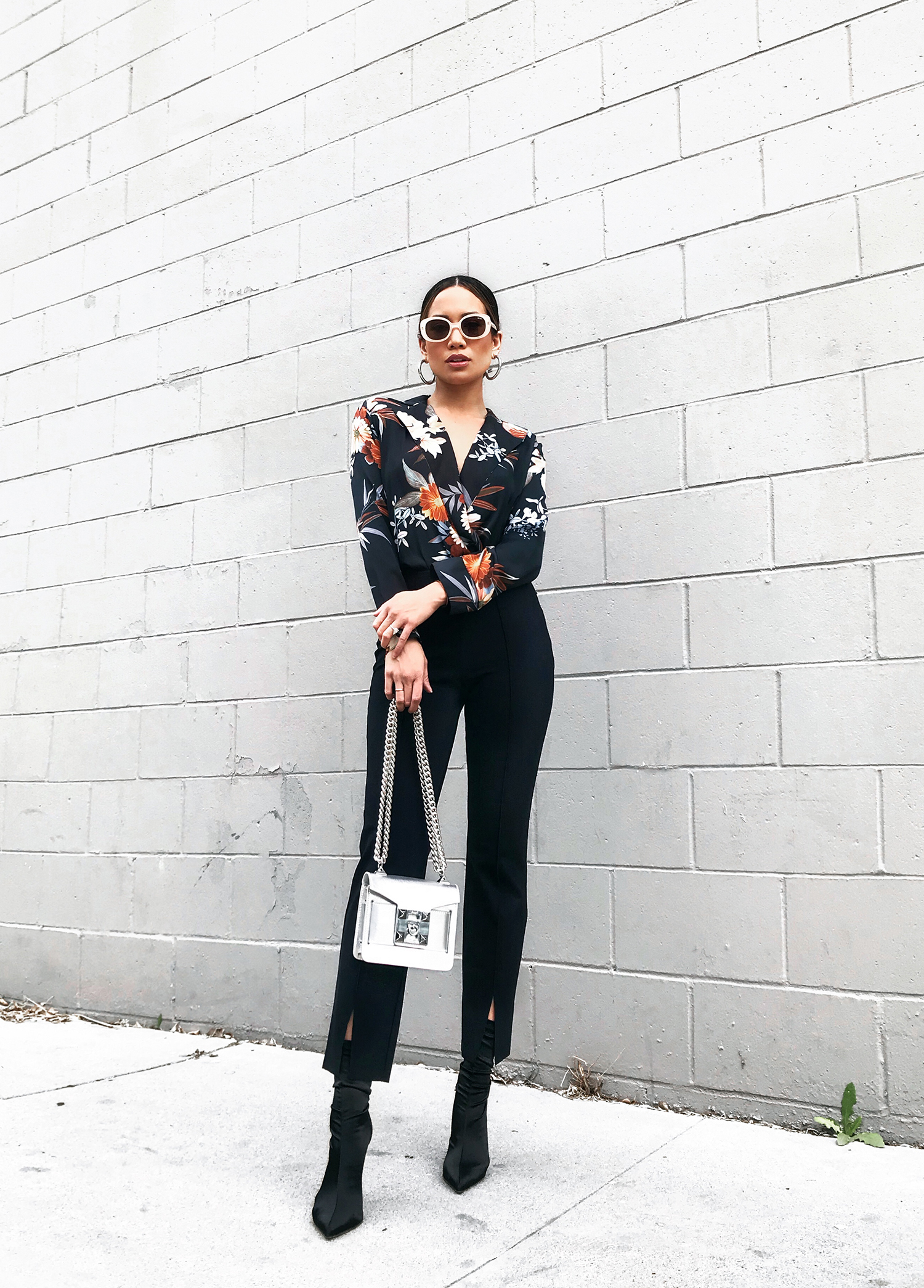 Jessi Malay wearing Zara Floral Blouse OOTD Streetstyle