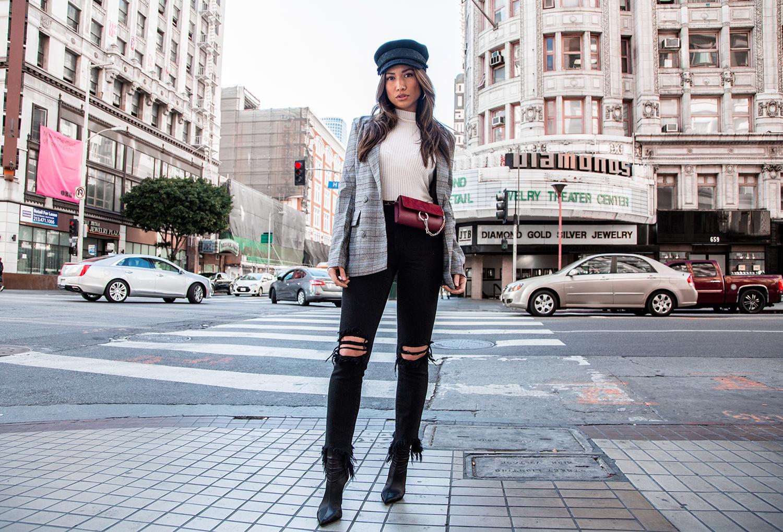Plaid blazer trend streetstyle revolve majorelle