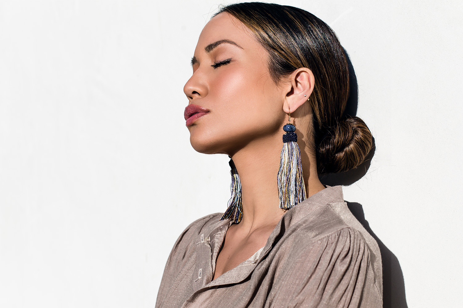 Jessi Malay wearing Misha Vaidya Tassel Earrings Statement Earrings