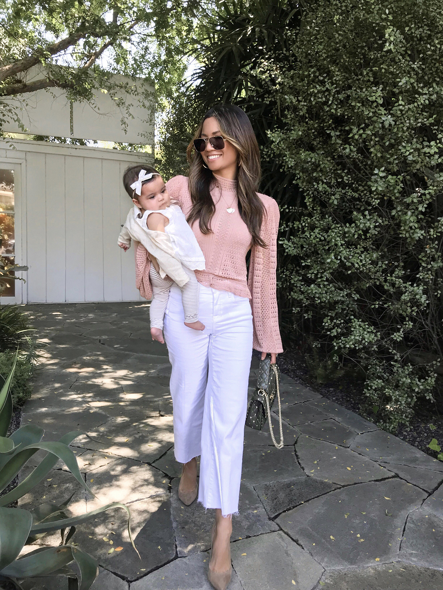 Jessi Malay wearing L'Agence Cropped Wide Leg Jeans