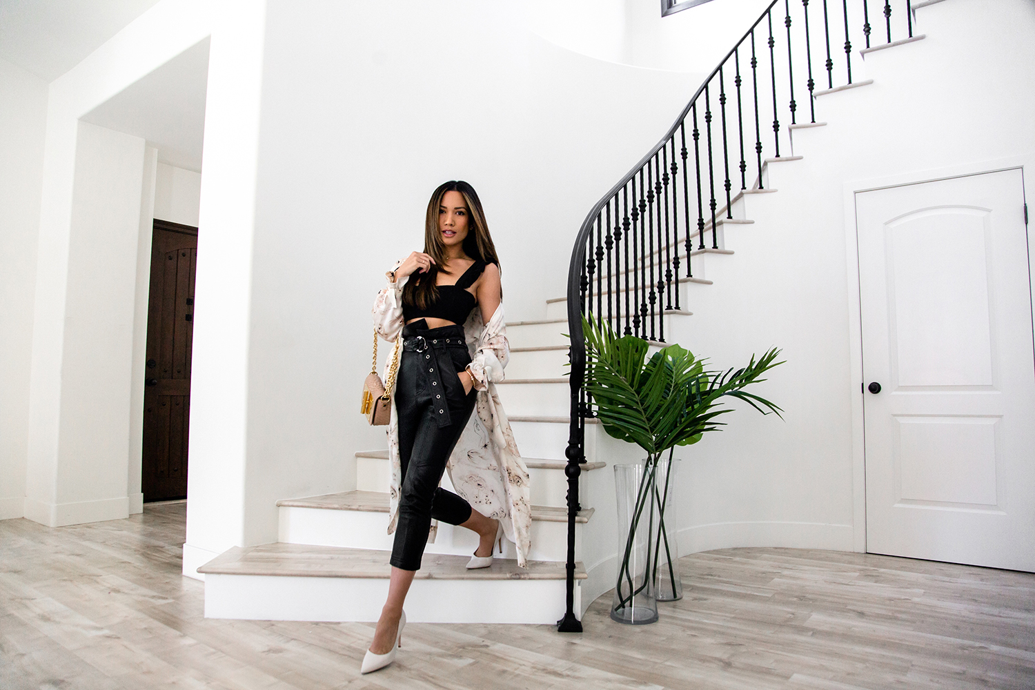 Jessi Malay wearing Marissa Webb Leather Pant