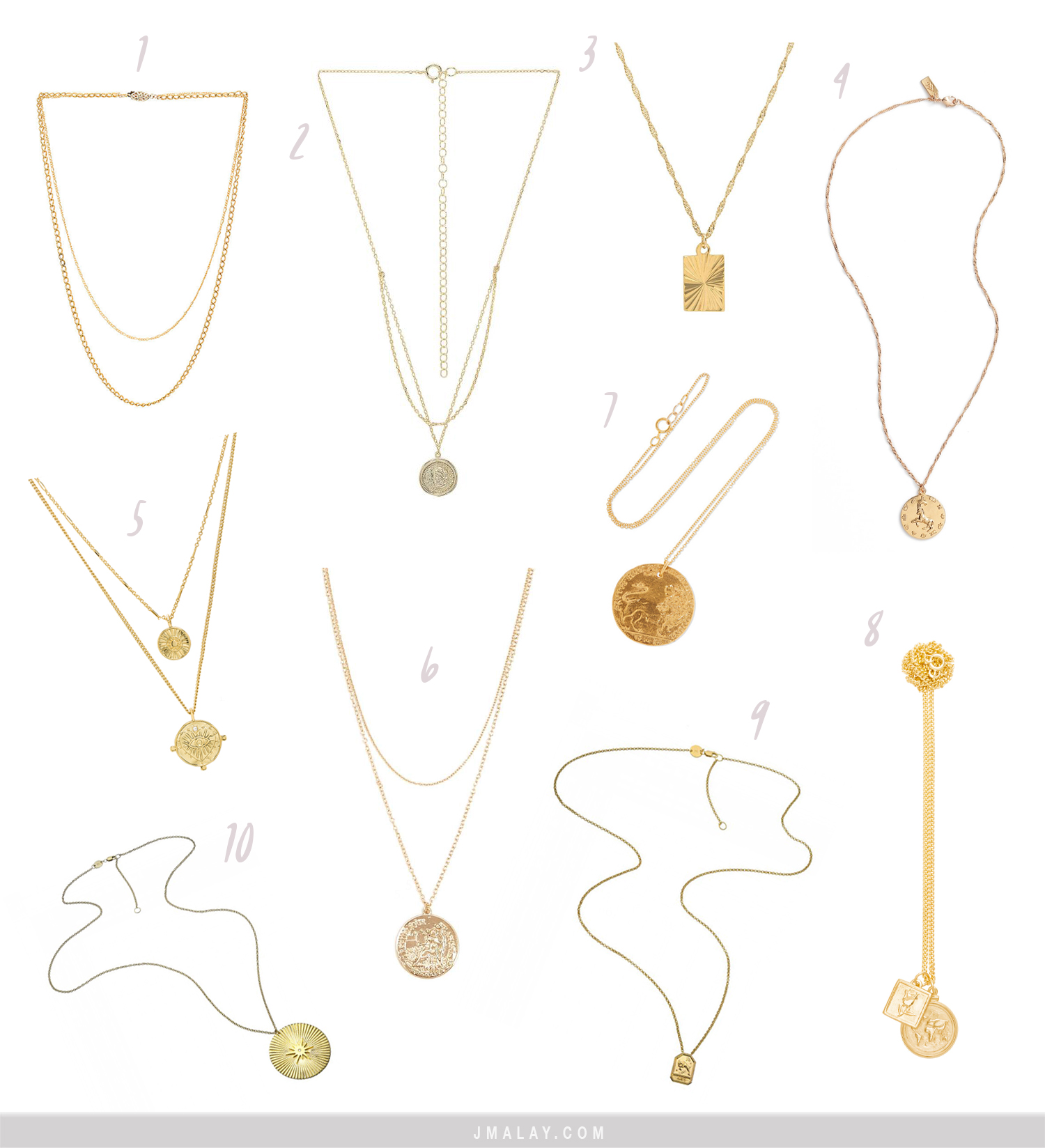 layering necklaces trend gold coin pendant necklaces