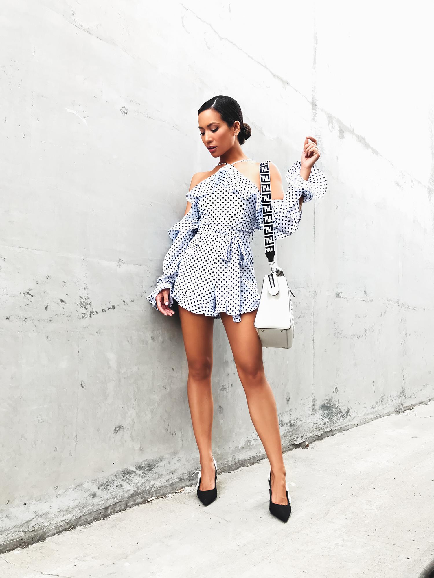 Jessi Malay wearing Fendi Dotcom Bag Strap