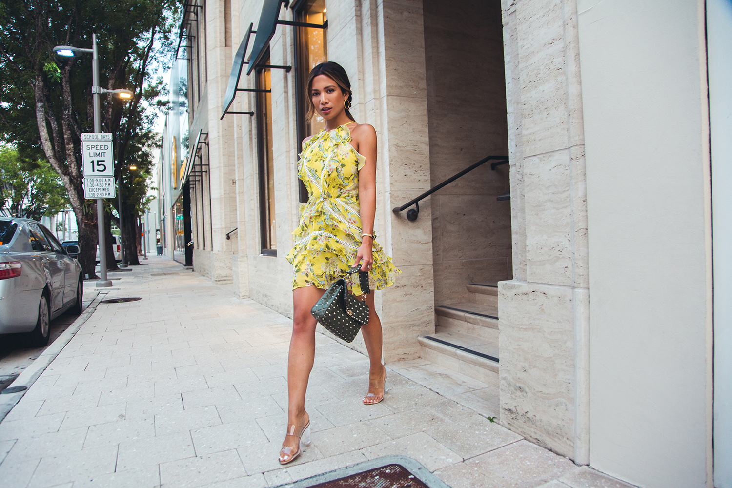 Jessi Malay wearing Marissa Webb Andrea Silk Print Dress