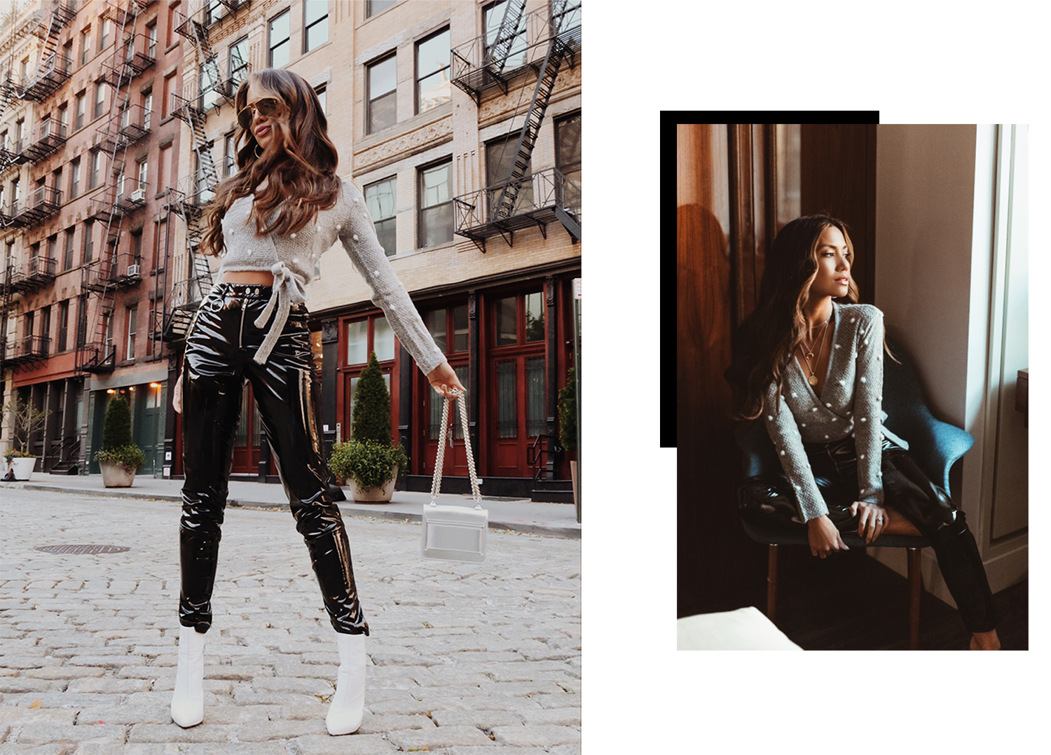 Jessi Malay wearing Vinyl Patent Leather pants