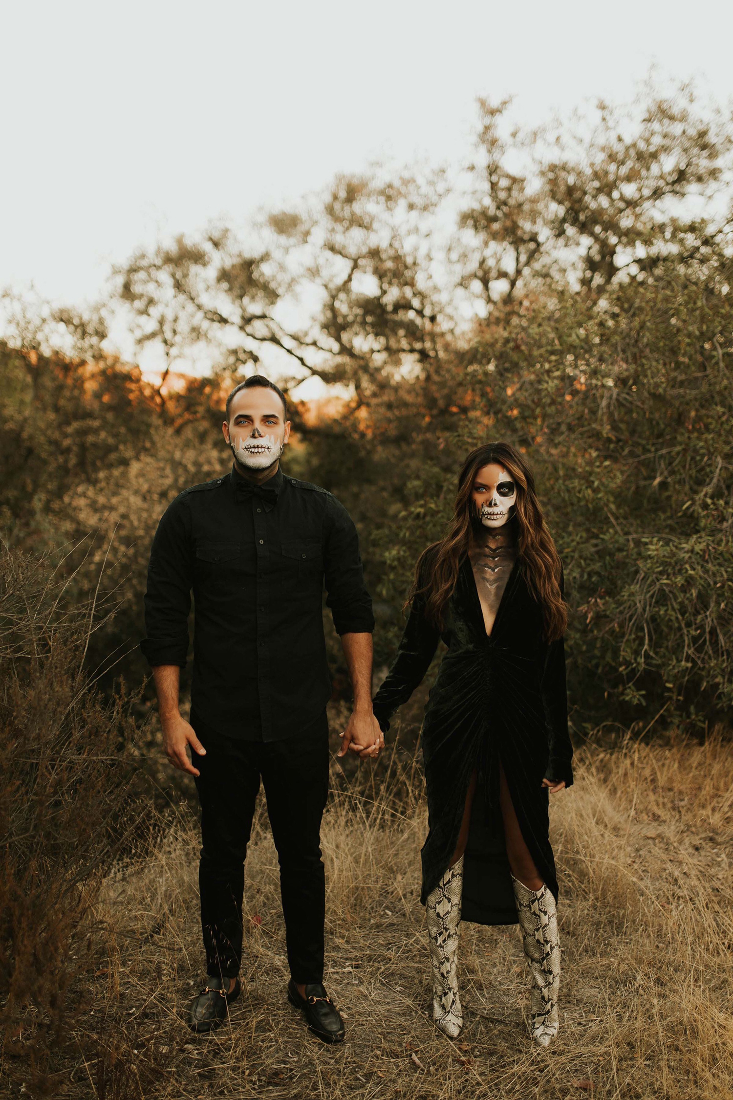halloween DIY skull makeup couples costume
