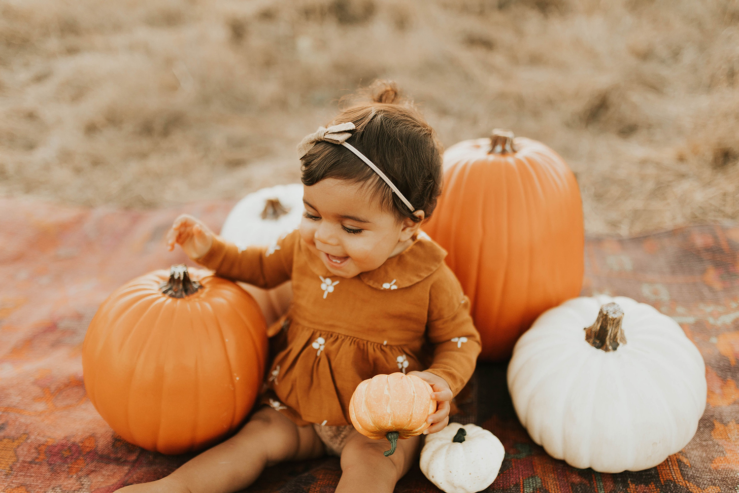 pumpkin patch photoshoot baby