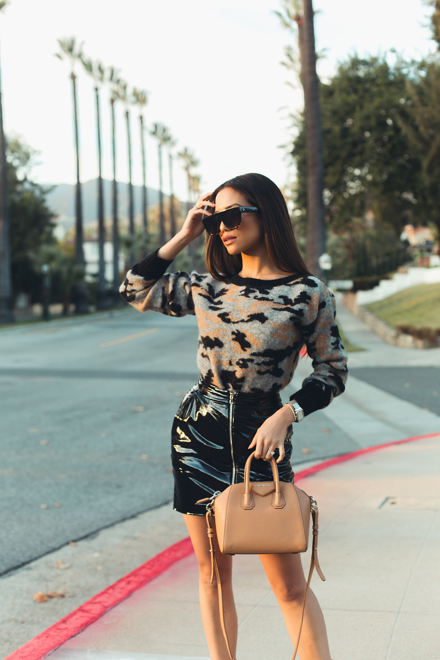 Jessi Malay wearing Givenchy Antigona Satchel