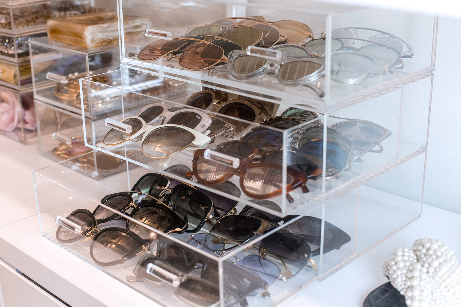 sunglasses organization acrylic boxes