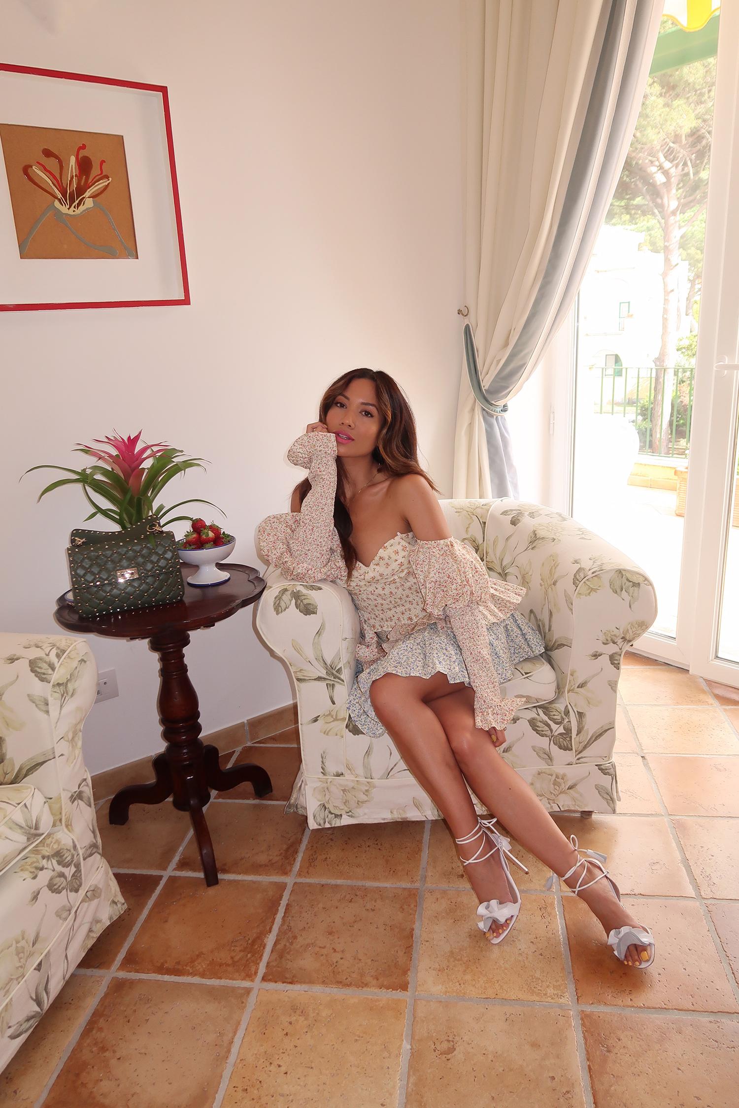 Jessi Malay wearing Petersyn Asia Skirt in Capri