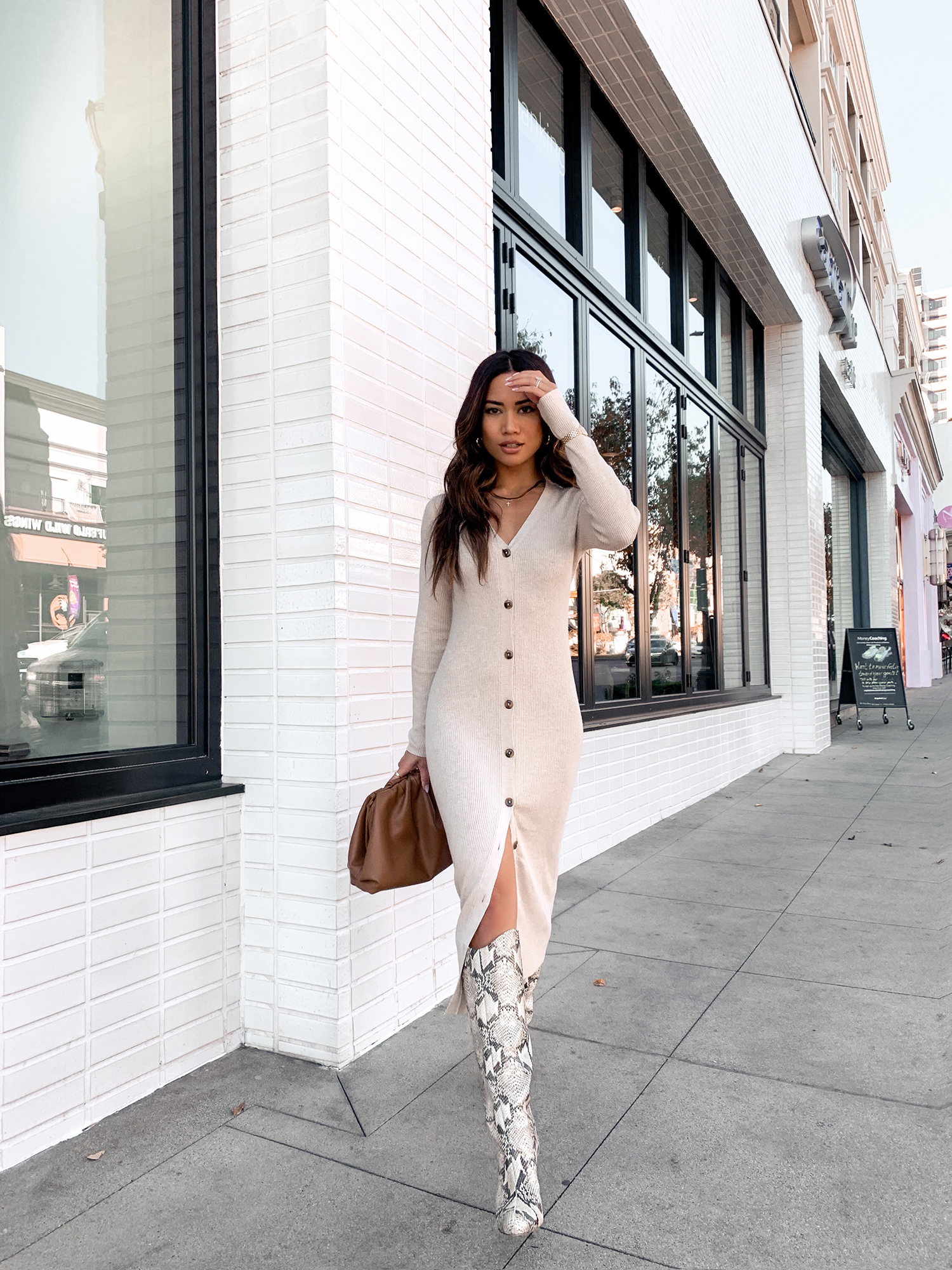 Jessi Malay wearing Sanctuary Sweater Dress
